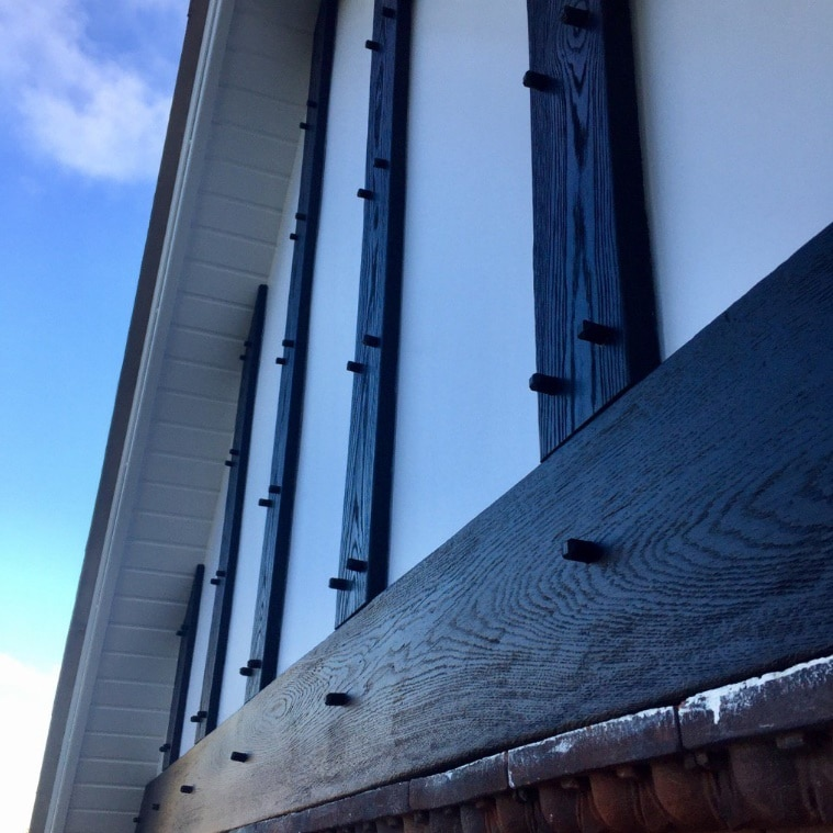 Black and white example of our mock tudor boards on a house